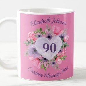 Personalized Heart Floral Mug- Pink, Green or Purple